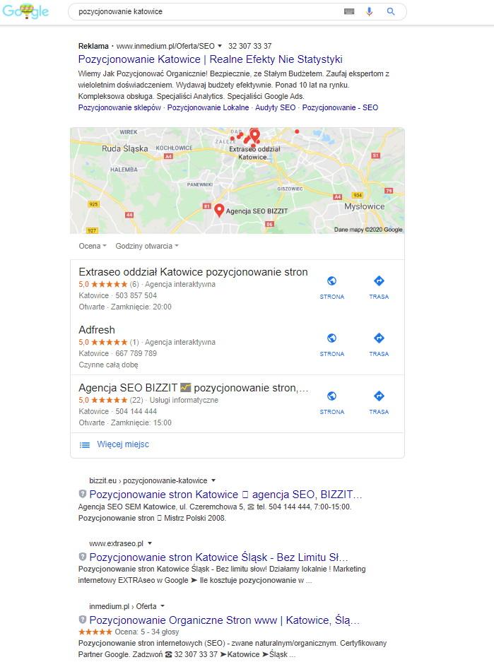 wyniki seo lokalne Google